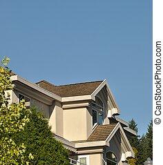 宏, 屋頂, 針對, 房子, 藍色的天空