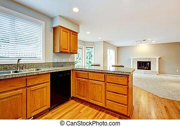 客廳, 房子, 大, interior., 打開, 空, 廚房