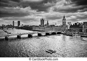 宮殿, 大本鐘, westminster, uk., 黑色, 白色, 倫敦