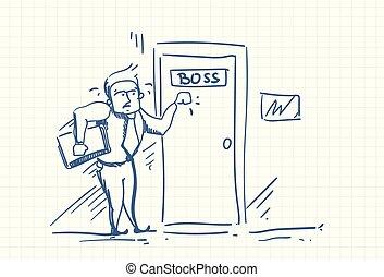 害怕, 門, 事務, 心不在焉地亂寫亂畫, 惊嚇, 敲, 老板, 責備, 人