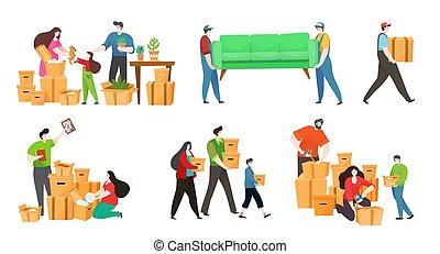 家具, 家庭, 新, 人們, 移動, 矢量, 插圖, 房子, 愉快, 箱子, 所有物, 包裝