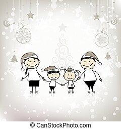 家庭, 一起, 微笑, 假期, 聖誕節, 愉快
