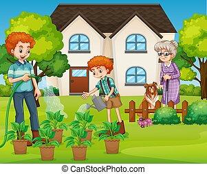 家庭, 房子, 前面