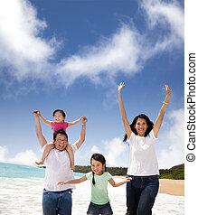 家庭, 海灘, 愉快