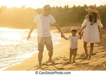 家庭, 海灘, 步行, 樂趣, 有, 愉快