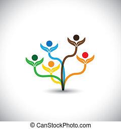 家庭, eco, -, concept., 樹, 矢量, 配合, 圖象