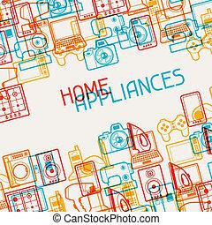 家用電子設備, 用具, 背景。