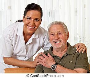家, 保育, 年長, 護士, 老年, 關心