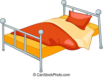 家, 卡通, 床, 家具