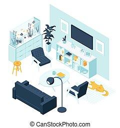 家, 家具, 房間, 生活, 內部, 概念, 等量, 被隔离, aquaruim, 附件, 白色 背景
