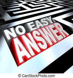 容易, 不, 解決, 詞, 回答, 迷宮, 問題, 克服, 3d