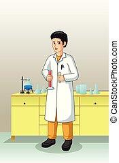 實驗室, 科學家, 工作, 插圖