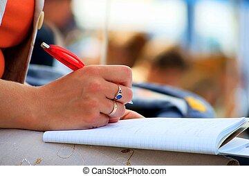 寫, 會議, 筆記本, 學生, 會議