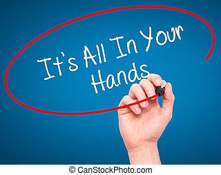 寫, 記號, 它是, 人全部, 黑色, 視覺, 手, 你, screen., 手