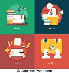 寫, 講話, eloquence, 演講術, 語言, 集合, ideas., lessons., 知識, 閱讀, art., 概念, 設計, 教育, 套間, 插圖