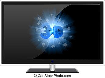 寬, tv 屏幕, 現代, 被隔离, 簽署, white., 3d
