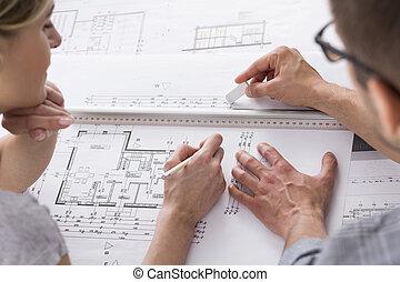 專業人員, 一些, 建筑師, 工作, 圖畫