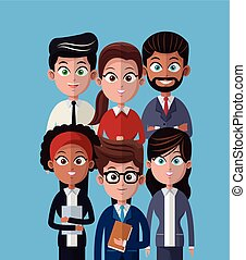 專業人員, 工作, 人們, 卡通, 隊
