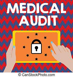 對待, examinings, 事務, audit., 相片, 顯示, 寫, 筆記, 醫學, showcasing, 專業人員, 標準, 回顧