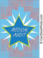 對待, examinings, 概念, 詞, 事務, audit., 正文, 醫學, 寫, 專業人員, 標準, 回顧