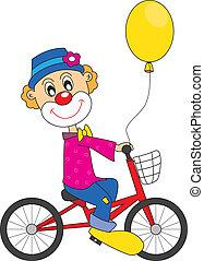 小丑, bicycle.