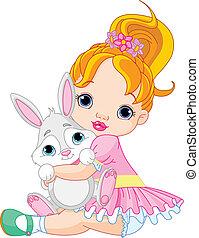 小女孩, 擁抱, 玩具, bunny