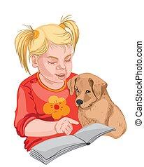 小狗, 女孩, 金發碧眼的頭發, 閱讀, 很少, colorful., book.