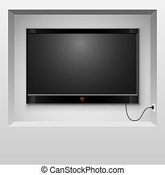 小生境, illustration., 電視, 現代, 牆, 矢量, 懸挂