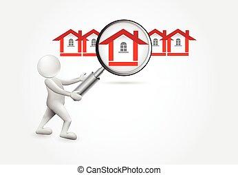 小的房子, -3d, 搜尋, 人們