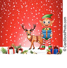 小精靈, 鹿, 聖誕節, 背景