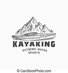 小船, 簽署, 獨木舟, 矢量, 略述, 被隔离, 山, concept., 手, 運動, typography., lanscape, kayaking, kayak, 符號, 畫, 標識語, 水, template., 摘要, 或者, 象征