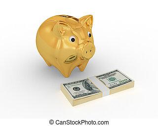小豬, 美元, 黃金, pack., 銀行, 看