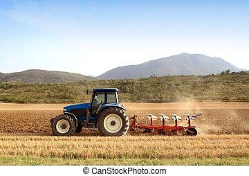 小麥, 領域, 穀物, 農業, 犁, 拖拉机