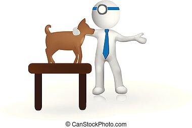 小, 人們, 3d, 矢量, -veterinary