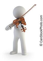 小, 小提琴, 3d, -, 人們