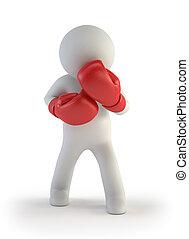 小, 拳擊手, -, 3d, 人們