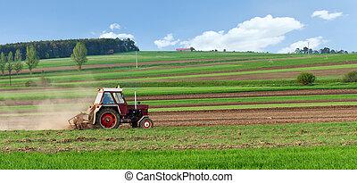 小, 春天, harrow, 拖拉机, 領域