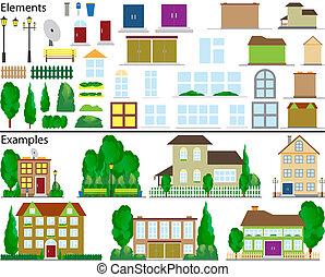 小, 郊區, houses.