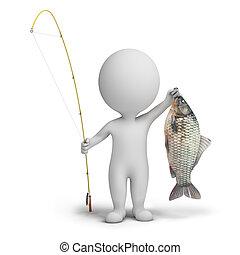 小, -, 3d, 漁夫, 人們