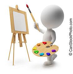 小, 3d, -, 畫家, 人們
