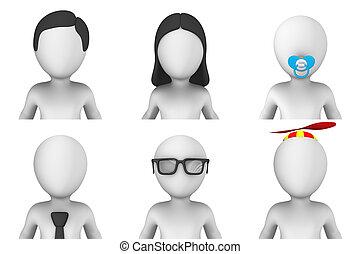 小, 3d, avatar, 人們