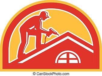 屋面工, 工作, 屋頂, retro, 一半圓