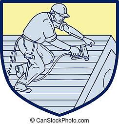 屋面工, 工作, mono, 屋頂, 線, 盾