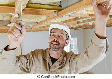 屋面工, 或者, 工作, 屋頂, 木匠, 建設