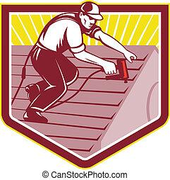 屋頂, 工人, 屋面工, retro