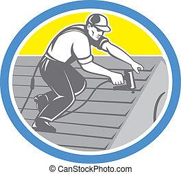 屋頂, 環繞, 工人, 屋面工, retro