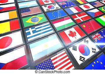 屏幕, 旗, 顯示, 國際, 拼貼藝術