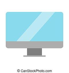 屏幕, 白色, 監控, 背景, 被隔离