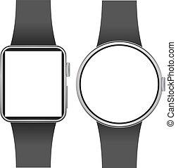 屏幕, 被隔离, smartwatch, 背景。, 樣板, 空白, 白色