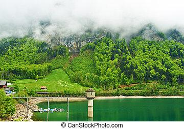 山湖, 瑞士, 綠寶石, 美麗
